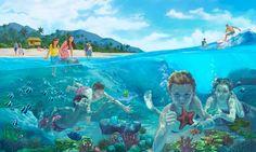 Des personnes heureuses sur une plage, dans le paradis