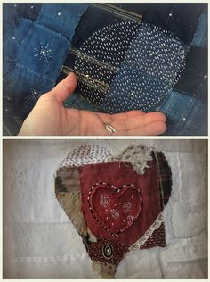 by Jude Hill....contrast colour circle stitching on denim patches