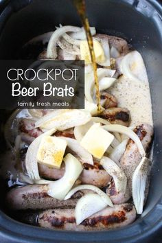 These really are The Best Crockpot Beer Brats! Now at your next backyard gathering, you don't have to slave over a hot grill to cook the perfect brat. - Make this with your favorite Johnsonville Brats!