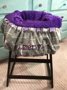 Grey and Purple Anchor Shopping Cart Cover, High Chair Cover by TWINSANDQUINN on Etsy