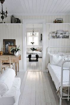 Use a variety of textures when decorating with white.