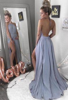 Simple Prom Dress,halter slit chiffon formal dresses A-Line Long Evening Dresses Prom Gowns Tulle Prom Dresses Cheap,Long Party Gowns