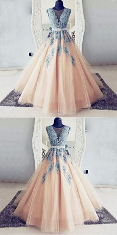 Ball Gown Round Neck Teal Blue Lace and Peach Tulle Long Prom Dresses - Ball Gown Round Neck Teal Blue Lace and Peach Tulle Long Prom Dresses Ball Gown Round Neck Teal Blue Lace and Peach Tulle Long Prom Dresses Colorful Prom Dresses, Prom Dresses Long Pink, Best Prom Dresses, Dress Prom, Dress Long, Gorgeous Prom Dresses, Elegant Dresses, Blue Ball Gowns, Ball Dresses