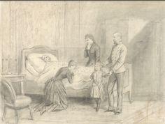 Elisabeth staat met gezin bij het lichaam van Rudolf.