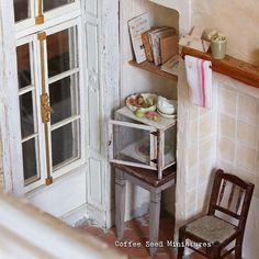 The garde-manger found its place in my miniature kitchen #miniature #1to12scale #dollhouse #miniaturekitchen #frenchkitchen #shabby #countrystyle #leafrisoni