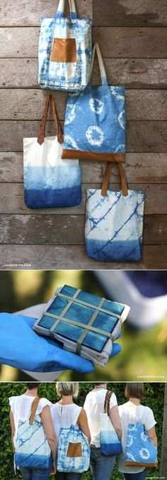 Great inspiration for shibori dyeing. Tote bags dyed with indigo using tie dye & shibori techniques Shibori Techniques, Tie Dye Techniques, How To Tie Dye, How To Dye Fabric, Diy Tie Dye, Diy Sac, Shibori Tie Dye, Diy Bags Purses, Gift Bags