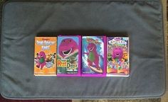 Lot of 4 Barney VHS Dancin' Tunes Read with me Musical Scrapbook Beach Party