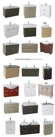 A huge selection of 3,000+ luxury bathroom vanities. Customize by adding mirrors, cabinets, faucets, and more. Available in different styles, sizes, and shapes!