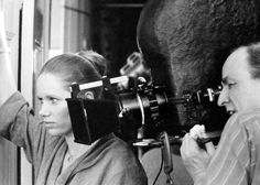 Liv Ullmann and director Ingmar Bergman on the set of Face to Face