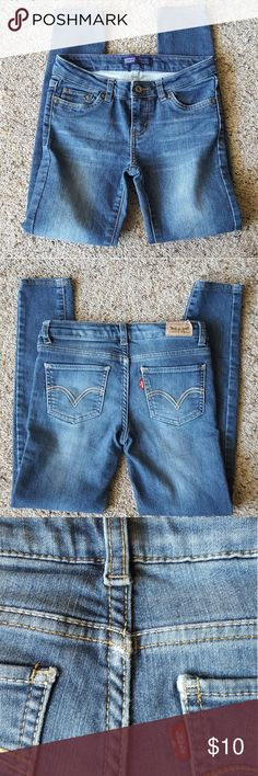 Levi's Denim Leggings Good condition, flaws are pictured above! Size 8REG Levi's Bottoms Leggings