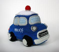 Police car amigurumi crochet pattern by Christel Krukkert