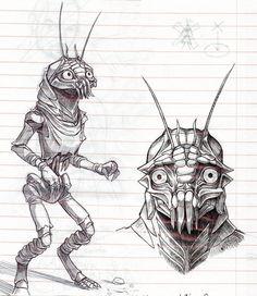 District 9 sketches by GantzAistar on DeviantArt Aliens, Man In Black, Son Of David, Night Gallery, Robot Concept Art, Creature Design, Fantasy Creatures, Science Fiction, Sci Fi