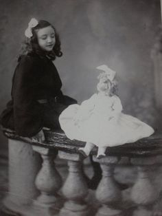 Vintage Antique Mounted Photo Little Girl Gazing At Her Doll Brooklyn, NY 1900s