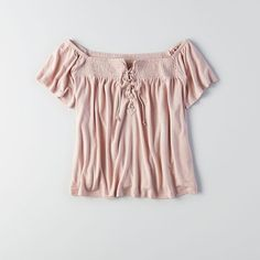 AE Lace-Up Off-the-Shoulder T-Shirt ($15) ❤ liked on Polyvore featuring tops, t-shirts, pink, drapey tee, pink tee, short sleeve t shirts, off shoulder t shirt and off shoulder tee