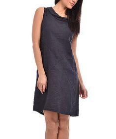 Loving this Navy Blue Linen Sleeveless Dress on #zulily! #zulilyfinds