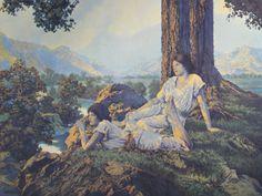 Hilltop (detail), by Maxfield Parrish, 1926 Fantasy Landscape, Landscape Art, Art Pictures, Art Images, Antique Pictures, Maxfield Parrish, Art Corner, Inspirational Artwork, Antique Art