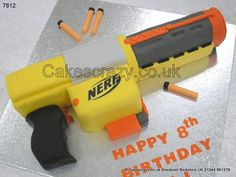 The Sonic Blaster.. Deploy this Nerf gun shaped cake and turn any boys birthday celebration into aa all out secret strike rapid file mission