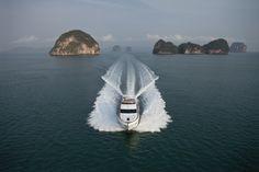 Island hopping in Phuket, Thailand on board the Princess 64 Flybridge motor yacht #experiencetheexceptional #Phuket #destination #travel #yacht