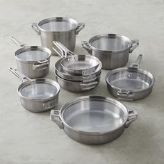 Calphalon Premier Space Saving Stainless-Steel 15-Piece Cookware Set #williamssonoma