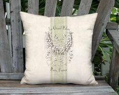 Le Grand Palais Green Grain Sack Pillow - French Linen Cotton Burlap Pillow Cover - 12x 14x 16x 18x 20x 22x 24x 26x 28x Inch Linen Pillow by artanlei on Etsy