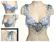 White and Blue Beaded Bra Top with Lace Straps  for Music Festival Rave EDM Disco Dance by RepublicOfRave on Etsy
