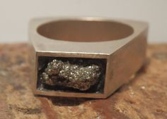 Sterling+silver+and+pyrite+ring+by+EmmyBean+on+Etsy,+$100.00