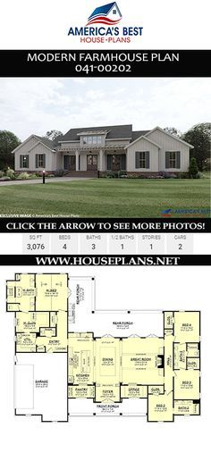 Modern Farmhouse Plan (with Interior Photos) Plan details a totally spectacular Modern Farmhouse with sq., 4 bedrooms, 3 bathrooms, a. House Plans One Story, One Story Homes, Best House Plans, Dream House Plans, Dream Houses, Home Floor Plans, Open Floor House Plans, Floor Plan 4 Bedroom, 4 Bedroom House Plans