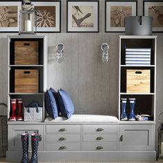 Pale grey hallway with storage | Decorating