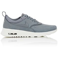 Nike Women's Air Max Thea Premium Sneakers ($115) ❤ liked on Polyvore featuring shoes, sneakers, nike, tenis, zapatillas, grey, leather low top sneakers, gray sneakers, nike shoes and perforated leather sneakers