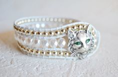 Bohemian Cat Bracelet with White Faceted and Silver Beads
