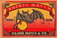 Japanese matchbox label / circa 1935 A Japanese matchbox from the late 1930s displays a bat carrying a gourd as a display of happiness, longevity and good fortune. Bats and gourds are viewed as positive symbols in Taoism, depicted beautifully here.