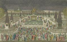 Vista em perspectiva da decoração da Praça Luís XV em 22/06/1763. Vista ótica publicada por Mondhare, em 1763. Encontra-se na Biblioteca Digitalizada Gallica / Biblioteca Nacional da França.