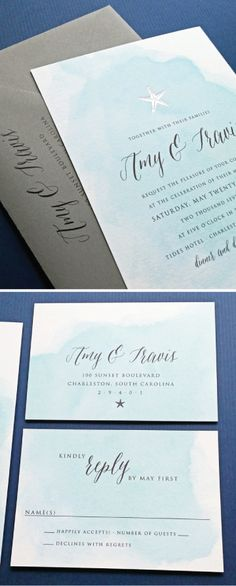NEW Amy Blue Watercolor Beach Wedding Invitation with Gold or Silver Foil Stamped Starfish, Shell, Anchor or Palm Tree