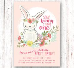 Bunny Birthday Invitation Spring Birthday by SprinklesAndLaceCo Bunny Birthday, 1st Birthday Girls, 1st Birthday Parties, Birthday Ideas, Summer Birthday, Birthday Decorations, Imagenes Free, First Birthday Invitations, Birthday Banners
