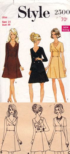 Style 2500 1960s wrap coatdress with ruffled or notched collar allthepreciousthings.com