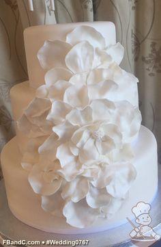 "Design W 0767 | White Fondant Wedding Cake | 12""+ 9""+ 6"" | Serves 100 | Hand Made Fondant Petals, White Satin Ribbon | Custom Quote"