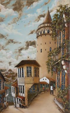 Istanbul galata – Şilan Karabulut – Join in the world of pin Watercolor Landscape, Landscape Paintings, Pics Art, Turkish Art, Z Arts, Pyrography, Beautiful Paintings, Islamic Art, Art Techniques