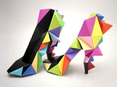 "Paper origami stilettos from the Le Creative Sweatshop. Love this quote from Christopher Morely, ""High heels were invented by a woman who had been kissed on the forehead. Funky Shoes, Crazy Shoes, Me Too Shoes, Weird Shoes, Colorful Shoes, Creative Shoes, Unique Shoes, Paper Shoes, Zapatos Shoes"