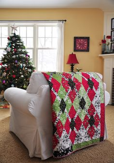 """The Christmas quilt pattern is citrus punch from"""" The Sweett Life."""""""