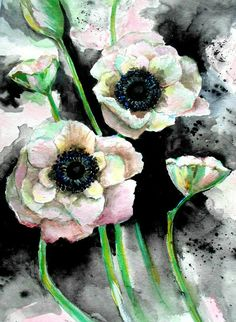 'Anemones Pink and Black Bold Watercolor ' Canvas Print by HannahTiffinArt Watercolor Canvas, Floral Watercolor, Watercolor Paintings, Large Wall Art, Succulents, Floral Wreath, Canvas Prints, Anemones, Plants