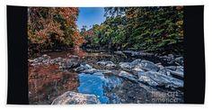 Autumn Bath Sheet featuring the photograph Autumn Haw River by Scott Hervieux