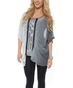 Take a look at this Gray Embellished Blouse by Lily on #zulily today!