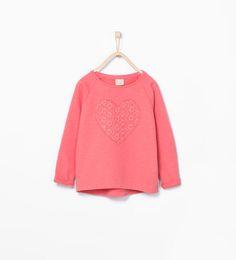 Image 1 of Lace heart sweatshirt from Zara
