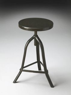Industrial Chic Modern Black Iron Solid Wood Seat Revolving Stool