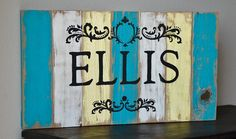Hand Painted Name Signs | Custom Hand Painted and Distressed Last Name Sign Made of Reclaimed ...