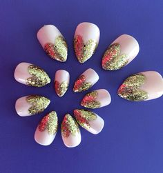 Valentine Glitter Heart Tip Claw Fake Nails on Etsy, $14.05
