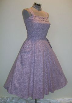 SUPER ORIGINAL 1950s FULL SKIRTED LUCY DANCE DRESS W/RHINESTONES W29 | eBay