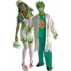 Biohazard Zombie Surgeon Adult Nurse Costume includes a white labcoat with green and red splatter designs, green scrubs .