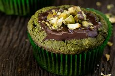"""Matcha Green Tea Muffins Recipe (Gluten-Free) Remember to substitute the sugar with Lakanto and the the chocolate chips with a sugar-free version.  I love """"Lily's Dark Chocolate Premium Baking Chips"""" sweetened with stevia."""