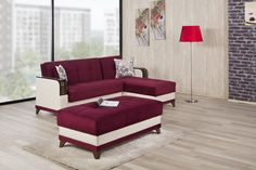 Almira Sectional Sofa and Ottoman in Golf Burgundy by Casamode